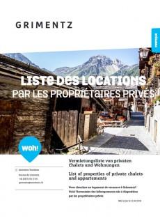 Grimentz - Liste des locations par les propriétaires privés