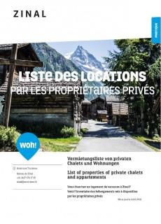 Zinal - Liste des locations par les propriétaires privés